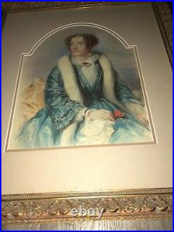 Rare Early Antique Signed Well Framed Painting Portrait Woman 1855