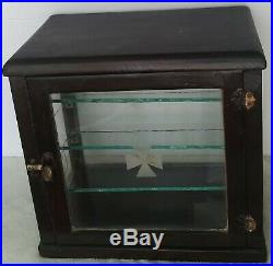 Rare Early Antique Vintage Barber's/Apothecary/Dental Cabinet Display Case