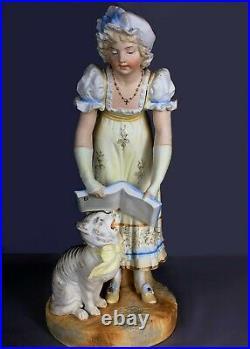 Rare Early Gebruder Heubach Anthropomorphic Singing Cat German Bisque Figure 16
