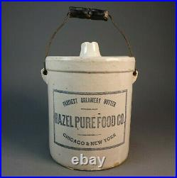 Rare Early Hazel Pure Food Co. Red Wing Stoneware Crock Chicago 6.5D x 7.5H