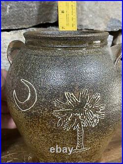 Rare! Early! Michel Bayne SC Edgefield Inspired Jar Slip Decorated Stoneware