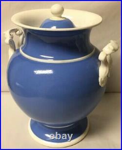 Rare Early Painted Light Blue Ceramic Apothecary Jar Globe Honey Gold Label