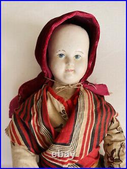 Rare & Early Papier Mache on Cloth Body Pauline face doll 19 1830/40
