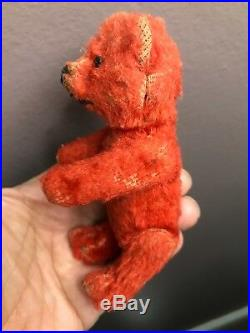 Rare Early Red Schuco Jointed Miniature Mohair Bear Antique Victorian 20s/30s