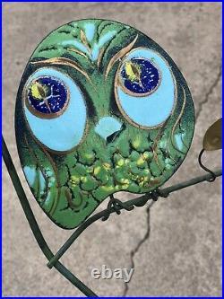 Rare Early Signed C. Jere Enamel Atomic Owl Metal Wall Hanging