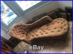 Rare Early Victorian Button Back Chaise Antique Brown Great Interior Project
