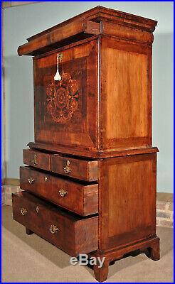 Rare Early Walnut and Marquetry Scriptor Escritoire c. 1715
