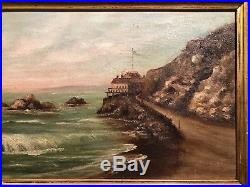 Rare Early ca 1880 Antique Cliff House Oil Painting San Fransisco California SF
