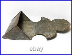 Rare Early-mid 19th C American Antique Tooled Tin Match Holder, Wheat/star David