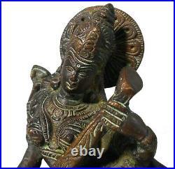 Rare Early-mid 19th C Antique Indian Goddess Saraswati Bronze Figure Orig Patina