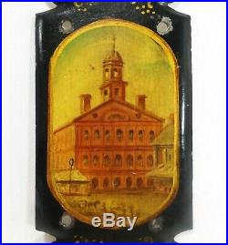 Rare Early-mid 19th C Faneuil Hall Boston Antique Oil Painting On Tin Door Plate