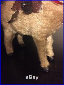 Rare Germany Mache Composition Santa Claus Antique 1930 Donkey Toy Windup Early