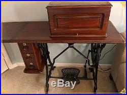 Rare Grover & Baker #9 Early antique sewing machine, walnut cab, cast treadle, 1871