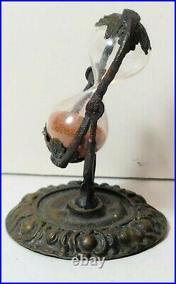 Rare Miniature Brass And Blown Glass 3 Minute Sand timer. Early19th. Century