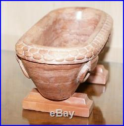 Rare Original Early 19th Century Roman Grand Tour Rosso Antico Marble Lion Bath