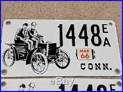 Rare PAIR 1966 Connecticut PORCELAIN ANTIQUE AUTO Early American License Plates