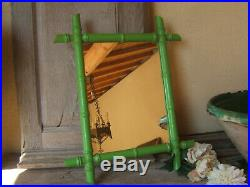 Rare PAIR Early Vintage French FAUX BAMBOO WALL-HANGING painted MIRROR ca 1930