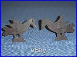 Rare Pair Early Old Wrought Iron Folk Art Bird Betty Fat Lamp Hook Holder Spikes