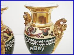 Rare Pair Lefebvre Rue Amelot Porcelain Urns Vase Napoleon 1800's Early Paris