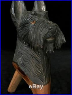 Rare SCOTTISH TERRIER DOG Wooden Nutcracker Hand Carved Early Mid 20th Century
