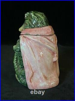 Rare SMOKING ALLIGATOR Tobacco Jar Antique Majolica Pottery Humidor Early 20thC