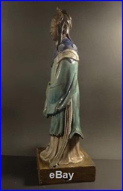 Rare Very Large Early 19th C Chinese Shiwan Glazed Mudman Woman Figure