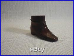 Rare Victorian Novelty Travel Inkwell'lady's Leather Shoe' Early 19th Century