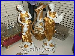 Rare early Italian 15 inch tall Capodimonte Roman woman wine jug figurine