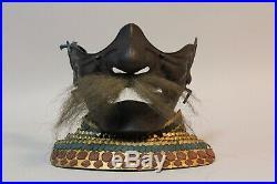 Rare iron Menpo mask, Samurai Face Armor. Early edo period, 1600s U74