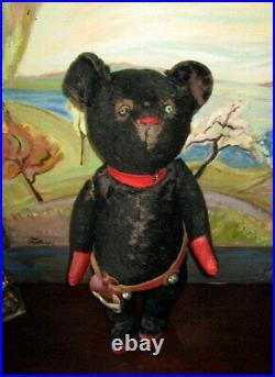 Rare very early black Antique Teddy bear /pre 1 world war/Roosevelt/Cowboy