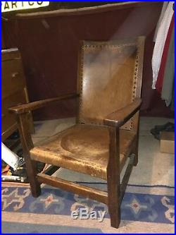 Robert Thompson Mouseman Leather Chair Very Rare Early Piece Made By Robert