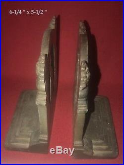 SIGNED RARE EARLY Old Bradley&Hubbard Cast Iron Peacock Book Ends / Door Stops