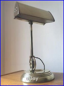 Stunning Rare Early Antique Original Adjustable Brass Bankers Desk Lamp