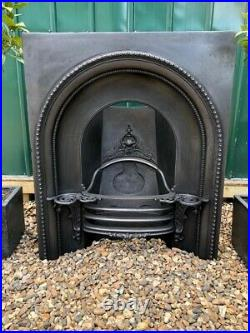 Stunning Rare Early Victorian Antique Cast Iron Arch Insert Fireplace circa 1850