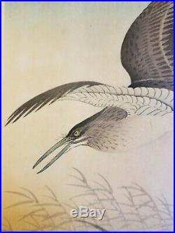 Super Rare Early Ohara Koson (shoson) Japanese Woodblock Print Egret In Flight