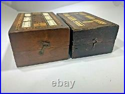 Two Rare Early Antique Inlaid French CRIBBAGE Folding BOX BOARDS