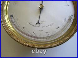 V. EARLY E. J. DENT No 6037 ANEROID DESK BAROMETER & THERMOMETER IN RARE OAK CASE