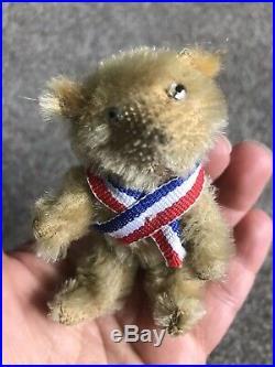 Very RARE Early Antique Farnell Soldier Miniature Mohair Bear Steiff Friend NR