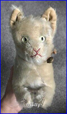 Very Rare 12 Early ANTIQUE Steiff Cat Glass Eyes Gray Mohair Excellent NO ID