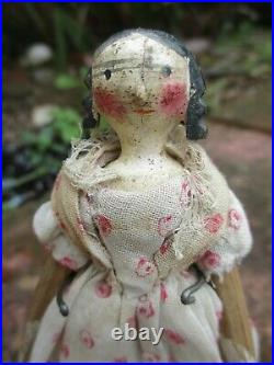 Very Rare Early Antique Grodnertal Wooden Peg Doll 5 Inch