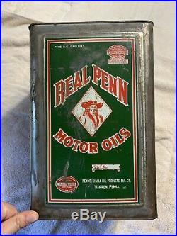 Vintage Antique Early Rare 5 Gallon Real Penn Motor Oil Can Warren PA