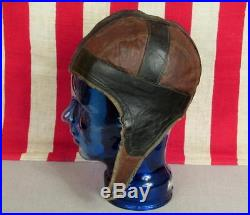 Vintage Antique Leather Football Helmet Two-Tone early 1900's Rare Great Shape