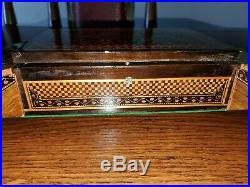 Vintage TUNBRIDGE WARE JEWELRY BOX RARE WALNUT OTHER WOODS Mosaic 16 x 5.5