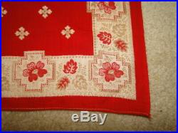 Vintage WONDERFUL RARE ANTIQUE EARLY TURKEY RED BANDANA WORKWEAR 16.5x16.5