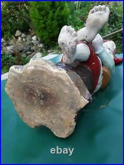 Vintage garden gnome. Antique German. Terracotta. Very rare early example